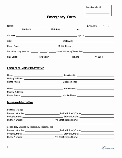 Employment Emergency Contact form Best Of Emergency form Contact
