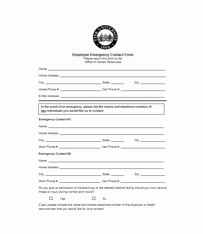 Employment Emergency Contact form Elegant 54 Free Emergency Contact forms [employee Student]