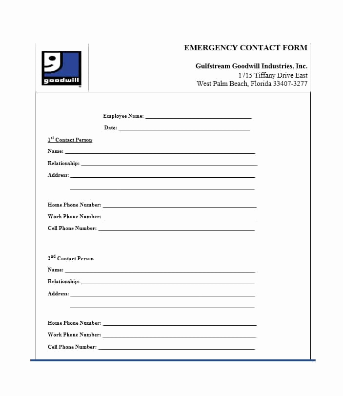 Employment Emergency Contact form Fresh 54 Free Emergency Contact forms [employee Student]