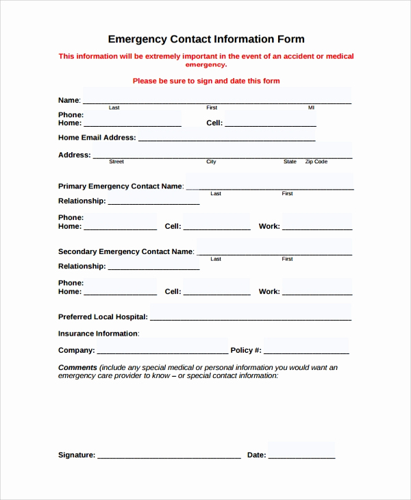 Employment Emergency Contact form Fresh 9 Sample Contact forms