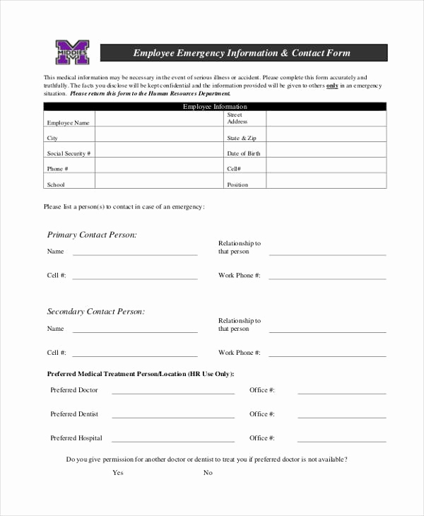 Employment Emergency Contact form Inspirational 34 Emergency Contact forms