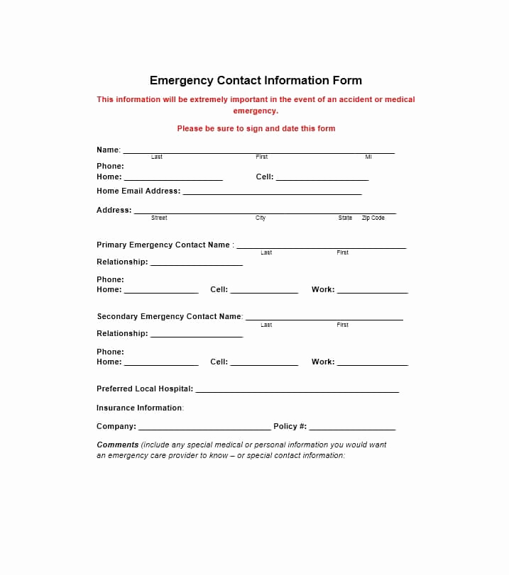 Employment Emergency Contact form Inspirational 54 Free Emergency Contact forms [employee Student]