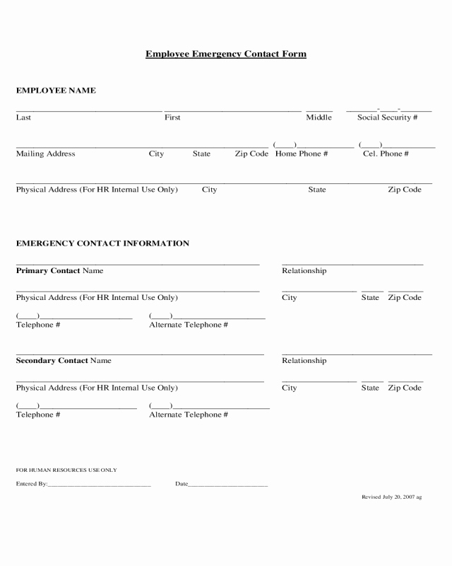 Employment Emergency Contact form Luxury 2019 Employee Emergency Contact form Fillable Printable