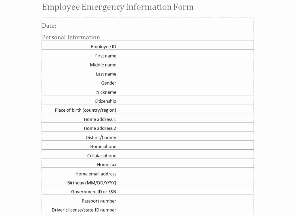 Employment Emergency Contact form Luxury Employee Emergency Information form Template
