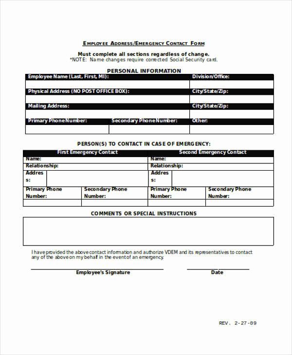 Employment Emergency Contact form Unique 34 Emergency Contact forms