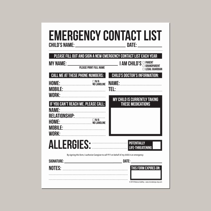 Employment Emergency Contact form Unique Emergency Contact form for Nanny Babysitter or Daycare