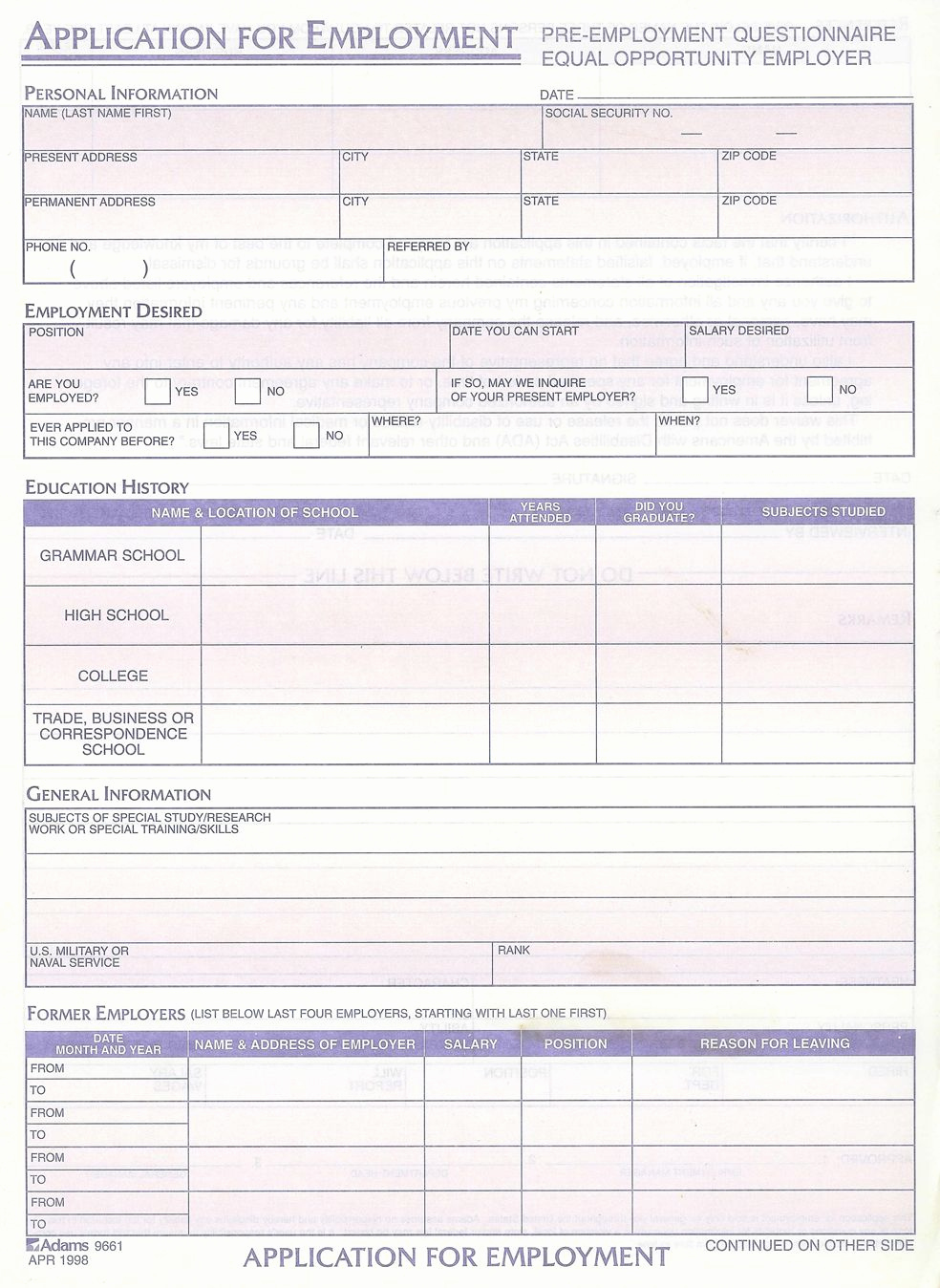 Employment Emergency Contact form Unique Standard Job Application with Emergency Contact form