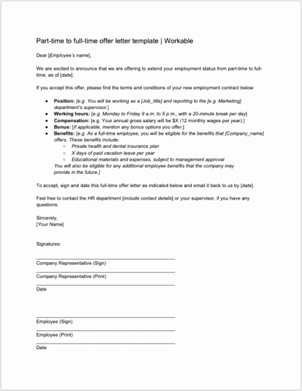 Employment Offer Letter Template Fresh 8 Job Offer Letter Templates for Every Circumstance Plus