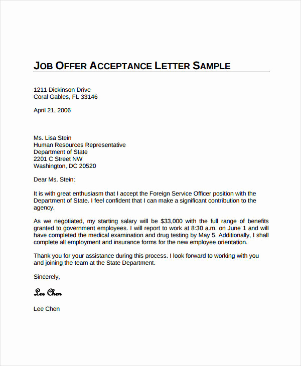 Employment Offer Letter Template Fresh Job Fer Acceptance Letter 8 Free Pdf Documents