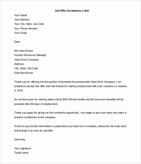 Employment Offer Letter Template Lovely Acceptance Letter Template – 8 Free Word Pdf Documents