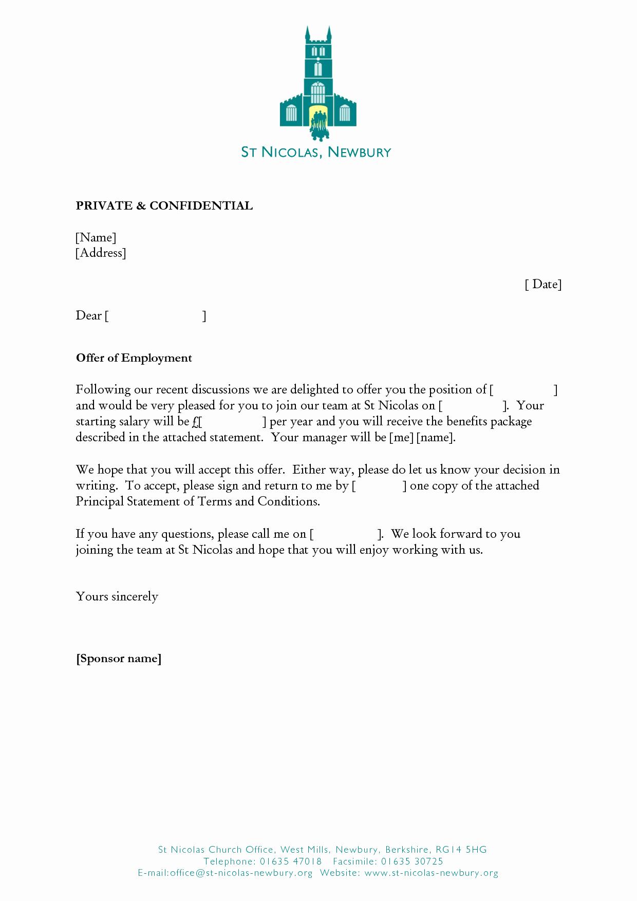 Employment Offer Letter Template Lovely Job Fer Letter Sample Doc India Australia Word format