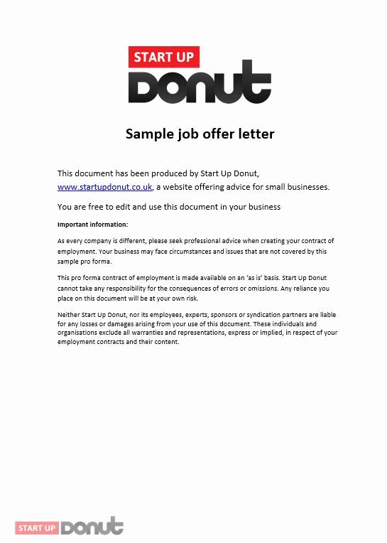Employment Offer Letter Template Lovely Job Offer Letter Template