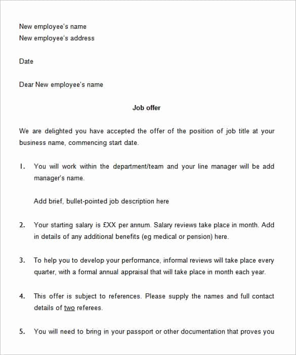 Employment Offer Letter Template Luxury 70 Fer Letter Templates Pdf Doc