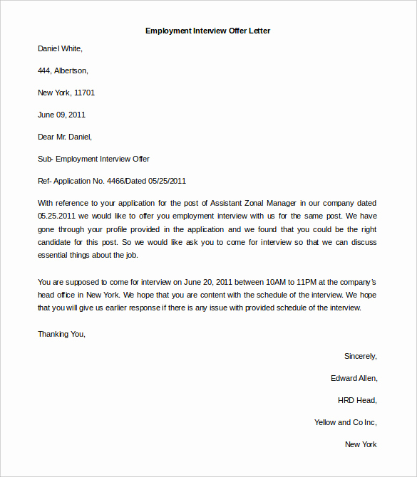 Employment Offer Letter Template Unique 11 Free Employment Letter Template Doc Pdf