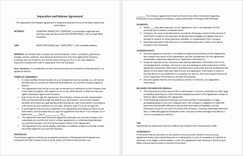 Employment Separation Agreement Template Awesome Separation and Release Agreement Template – Microsoft Word