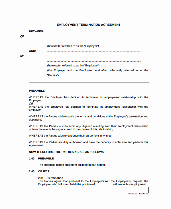 Employment Separation Agreement Template Beautiful Employment Separation Agreement Templa