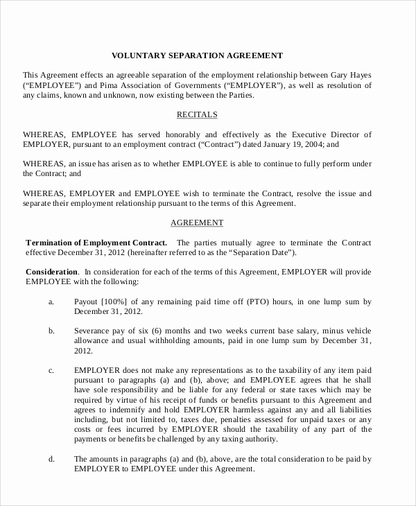 Employment Separation Agreement Template New Sample Employment Separation Agreement 8 Documents In