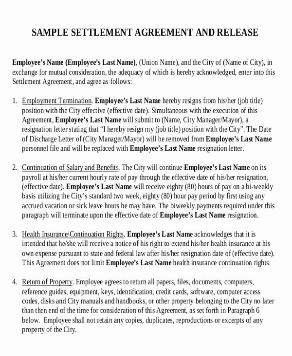 Employment Separation Agreement Template Unique 23 Sample Employment Agreements Free Word Pdf format