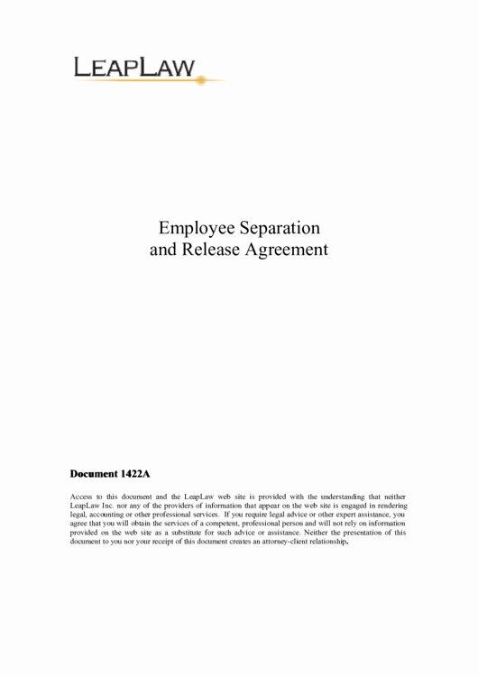 Employment Separation Agreement Template Unique Employee Separation and Release Agreement Printable Pdf