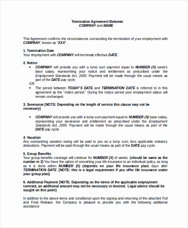 Employment Separation Agreement Template Unique Sample Employment Separation Agreement 8 Documents In