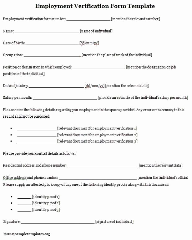 Employment Verification form Template Inspirational Bio Data forms Find Word Templates