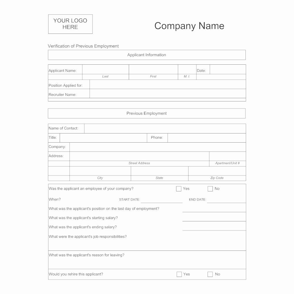Employment Verification form Templates Beautiful Verification Of Previous Employment