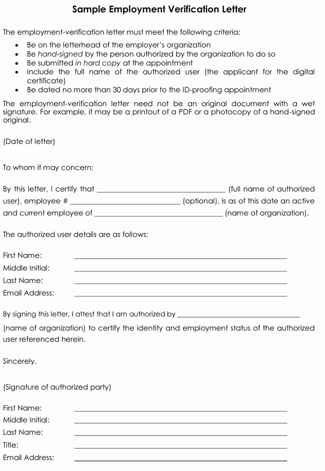 Employment Verification form Templates Best Of Employment Verification Letter 8 Samples to Choose From