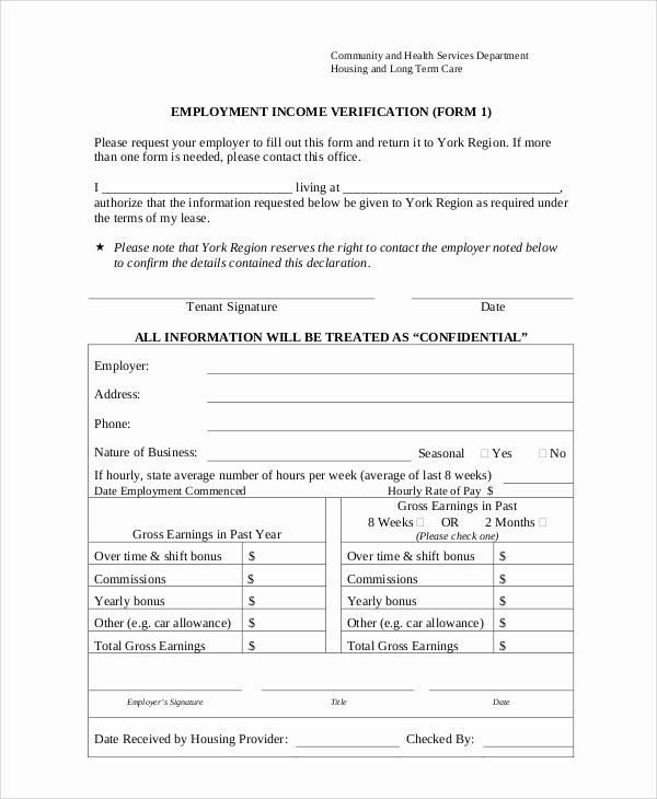 Employment Verification form Templates Lovely Sample Employment Verification form 8 Examples In Word Pdf