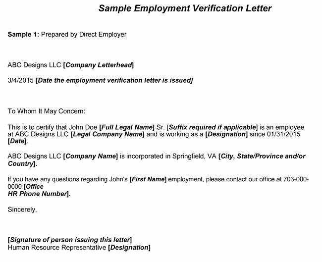 Employment Verification form Templates Luxury Employment Verification Letter 8 Samples to Choose From