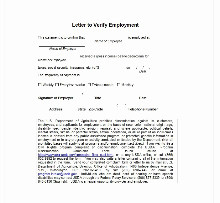 Employment Verification form Templates Luxury Employment Verification Letter top form Templates