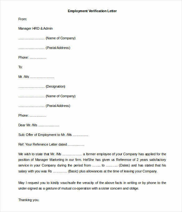 Employment Verification form Templates New 11 Free Employment Letter Template Doc Pdf
