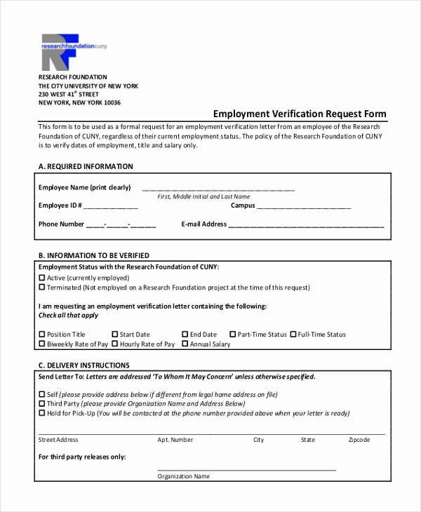 Employment Verification form Templates New Sample Employment Verification form 13 Free Documents