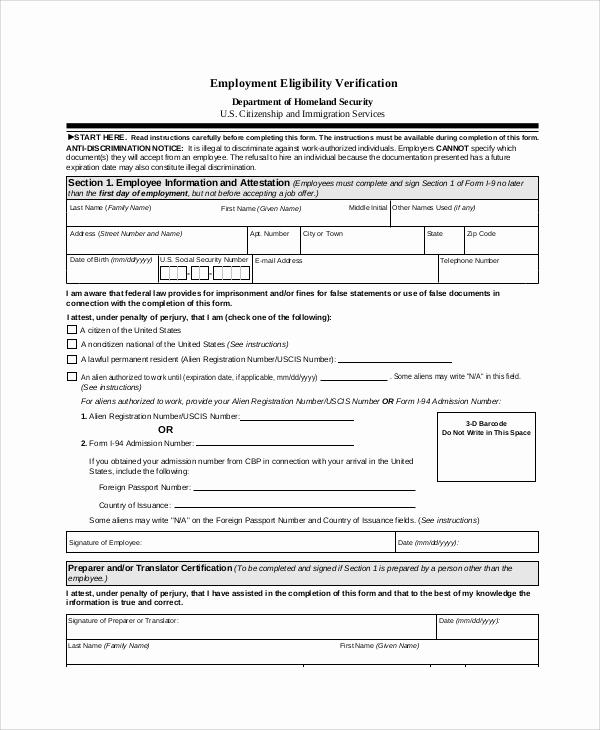 Employment Verification form Templates Unique 7 Sample Employment Verification forms