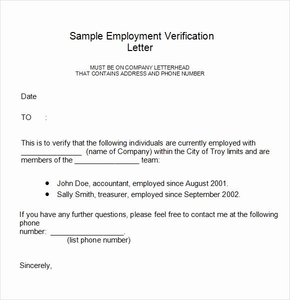 Employment Verification form Templates Unique Employment Verification Letter 14 Download Free