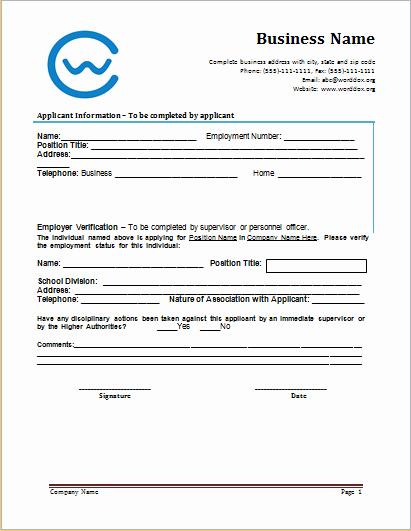 Employment Verification form Templates Unique Word Employment Verification form Template