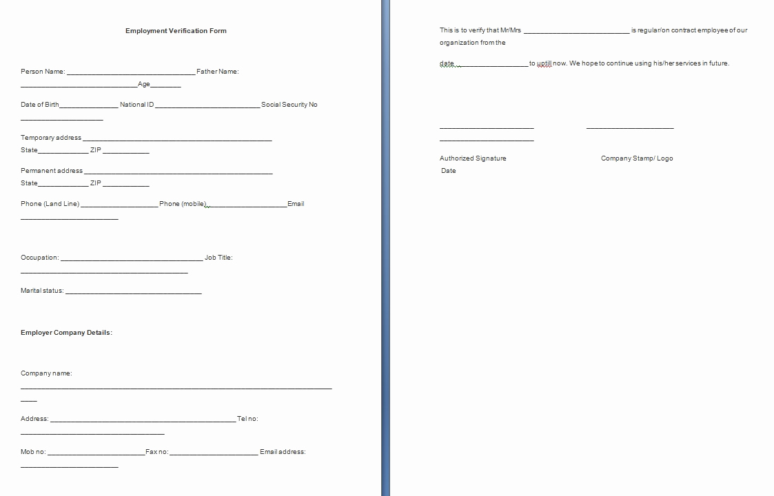 Employment Verification forms Template Awesome Employment Verification form Template Free formats Excel