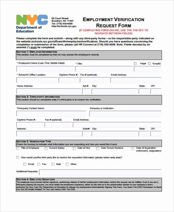 Employment Verification forms Template Beautiful Employment form Templates