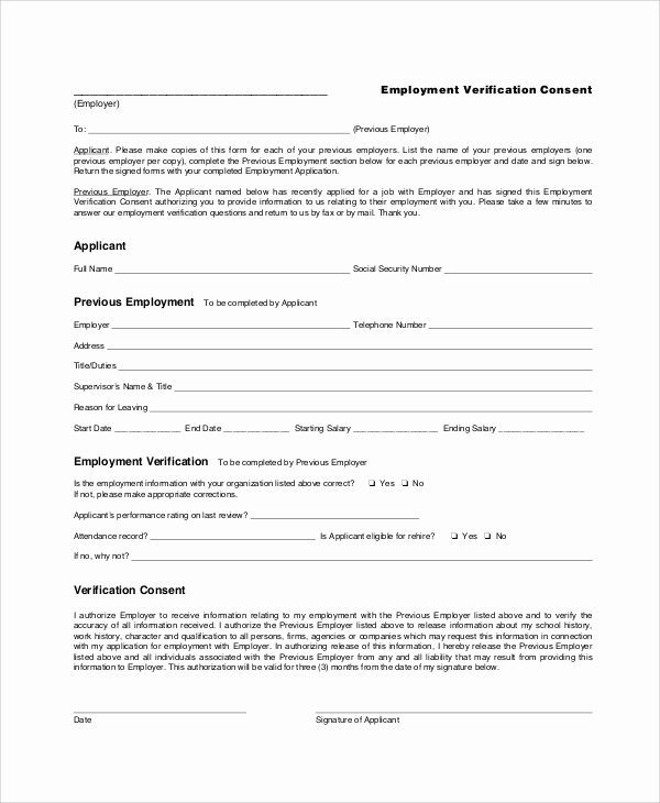 Employment Verification forms Template Best Of 7 Sample Employment Verification forms