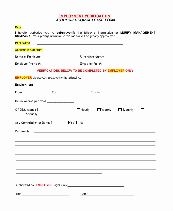 Employment Verification forms Template Best Of Sample Verification Of Employment form 10 Examples In