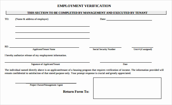 Employment Verification forms Template Lovely Employment Verification form 8 Download Documents In