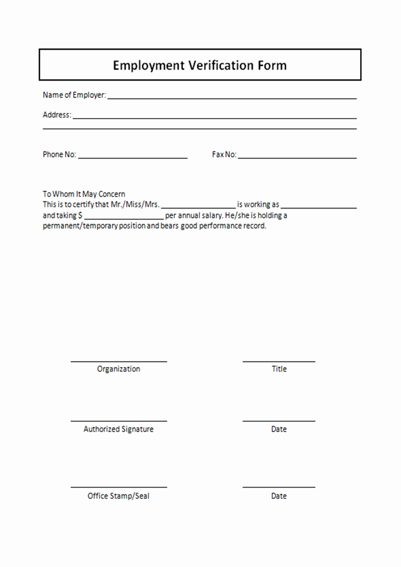 Employment Verification forms Template Lovely Employment Verification form Template Free Printable