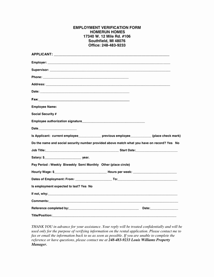 Employment Verification forms Template New Employment Verification form In Word and Pdf formats