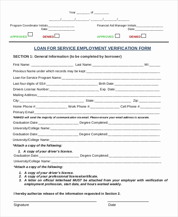 Employment Verification forms Template New Sample Verification Of Employment form 10 Examples In