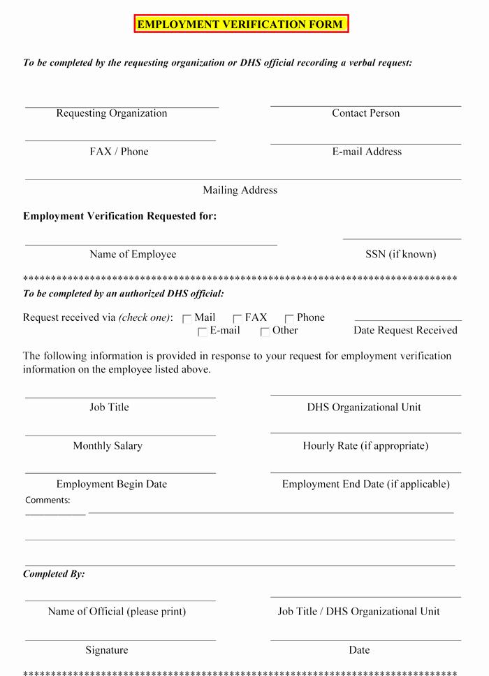 Employment Verification forms Template Unique 5 Employment Verification form Templates to Hire Best Employee