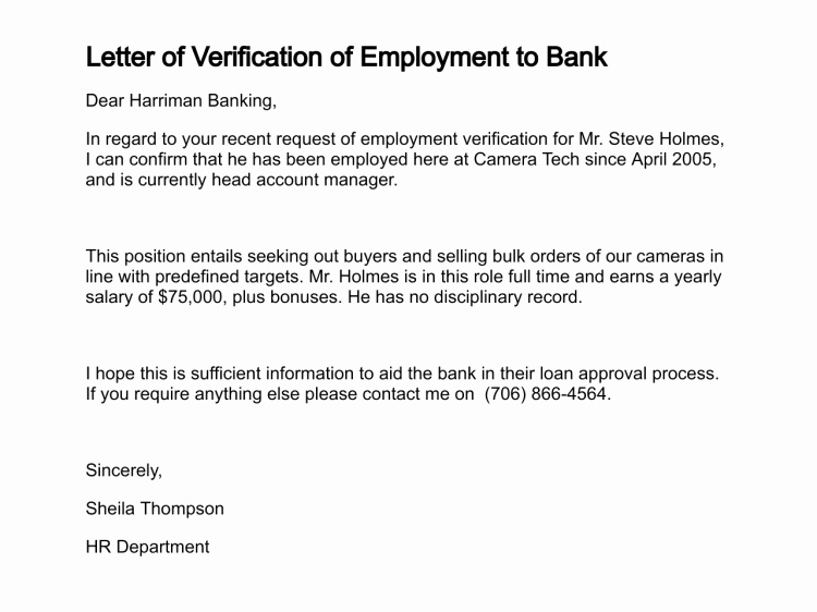 Employment Verification Letter for Visa Best Of Confirmation Employment Letter for Bank