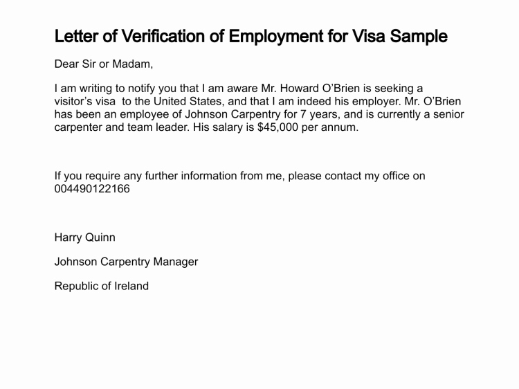 Employment Verification Letter for Visa Best Of Letter Of Verification Of Employment