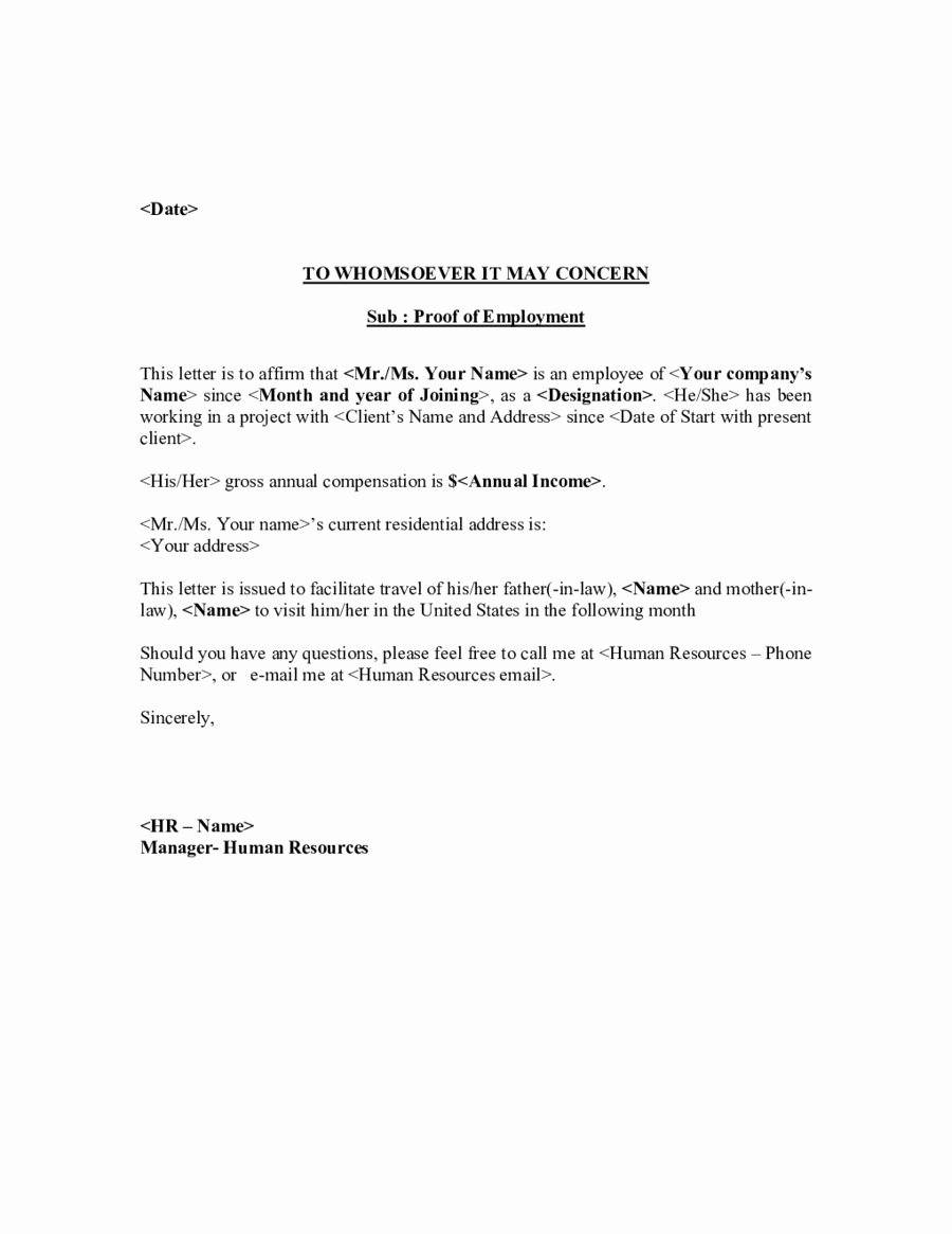 Employment Verification Letter for Visa Elegant Employment Letter for Visa
