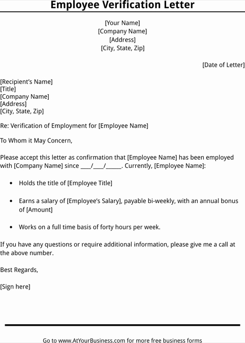 Employment Verification Letter for Visa Elegant Employment Verification Letter Template