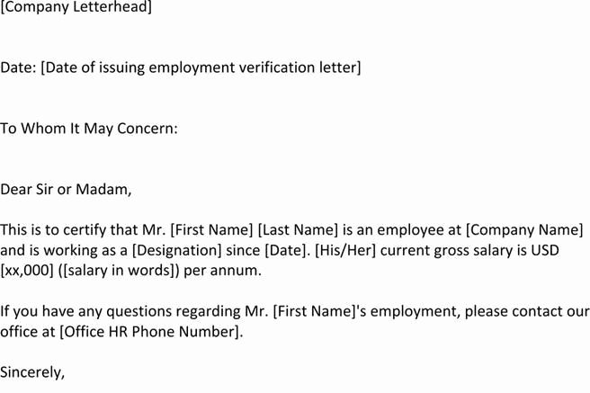 Employment Verification Letter for Visa Lovely 4 Employment Verification Letter Template Free Download