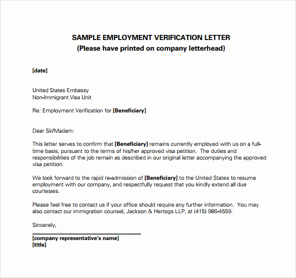 Employment Verification Letter Pdf Lovely Employment Verification Letter 14 Download Free